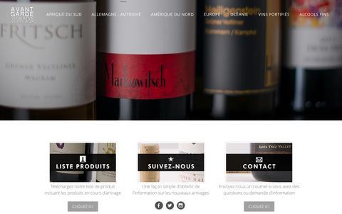 Screenshot of Home Page agvs.ca - Avant-Garde vins et alcools fins - Page d'accueil - captured Feb. 6, 2016