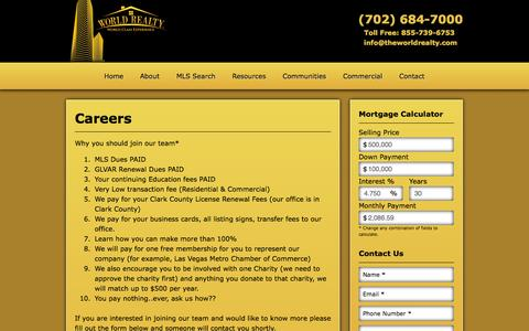 Screenshot of Jobs Page theworldrealty.com - Get a Career With Our Realty Team | World Realty of Las Vegas | (702) 684-7000 - captured Oct. 26, 2014