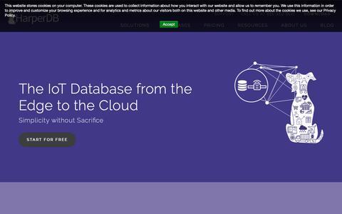Screenshot of Home Page harperdb.io - HarperDB | Simplifying Big Data Architecture | HTAP Database - captured Nov. 2, 2018