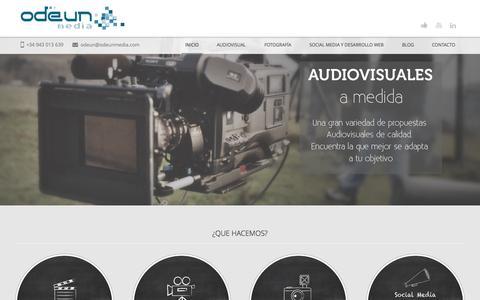 Screenshot of Home Page odeunmedia.com - Productora de Donostia-San Sebastián - Odeun Media - captured Oct. 7, 2014