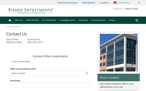 Screenshot of Contact Page fisherinvestments.com - Contact Fisher Investments - captured Jan. 6, 2020