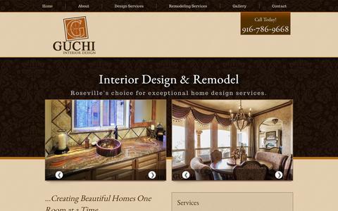 Screenshot of Home Page Services Page guchiinteriordesign.com - Expert Interior Decorating in Roseville, CA | Guchi Interior Design - captured Sept. 30, 2014