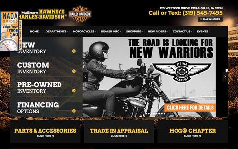 Screenshot of Home Page hawkeyehd.com - Harley-Davidson Sales, Service & Parts | Coralville, IA | McGrath Hawkeye Harley-Davidson - captured July 4, 2018