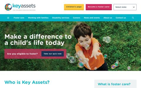 Screenshot of Home Page keyassets.com.au - Make A Difference To A Child's Life Today - Key Assets Australia - captured Oct. 15, 2018
