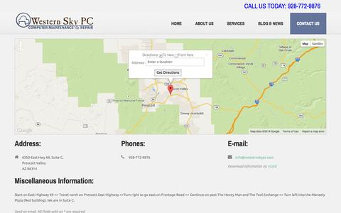Screenshot of Contact Page westernskypc.com - Western Sky PC  |  Contact Us  |  Computer Maintenance and Repair  |  Prescott Valley  |  Prescott  |  Chino Valley  |  Dewey - captured Oct. 1, 2014