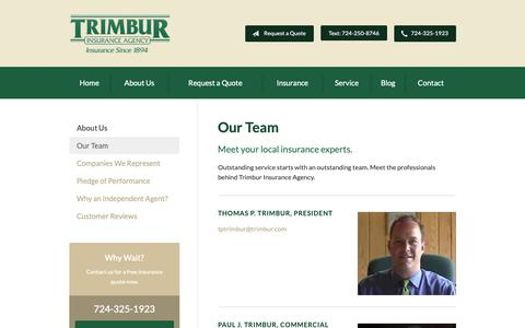 Screenshot of Team Page trimbur.com - Our Team - Murrysville, PA | Trimbur Insurance Agency - captured Oct. 20, 2018