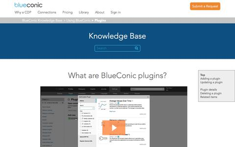 Screenshot of Support Page blueconic.com - What are BlueConic plugins? – BlueConic Knowledge Base - captured May 2, 2018