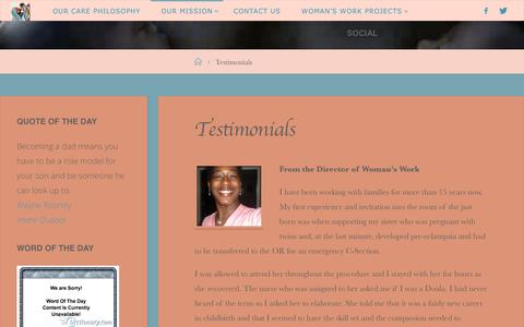 Screenshot of Testimonials Page womansworkconsultinggroup.com - Testimonials – Woman's Work – Birth and Family - captured June 18, 2017