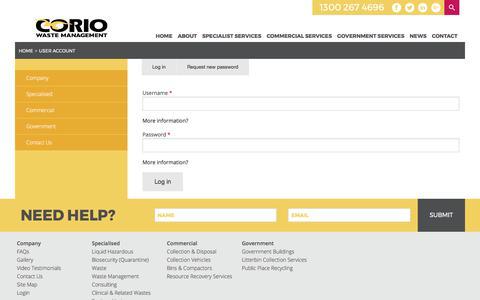 Screenshot of Login Page coriowm.com.au - User account | Corio Waste Management - captured Aug. 26, 2017