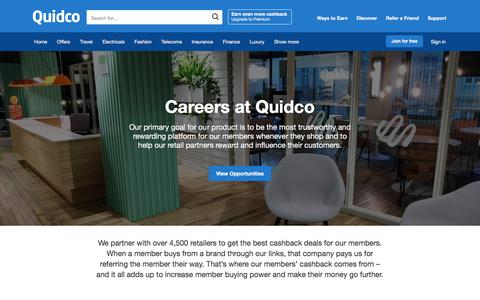 Screenshot of Jobs Page quidco.com - Quidco - The UK's #1 Cashback Site - captured Jan. 18, 2020