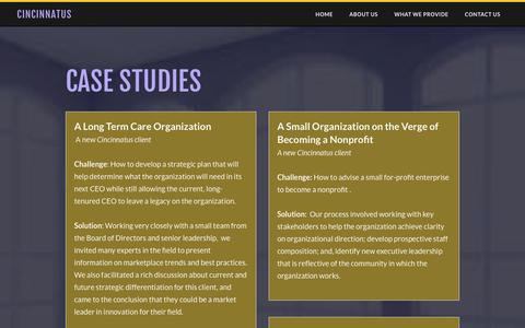 Screenshot of Case Studies Page cincinnatus.com - Case Studies - Cincinnatus - captured July 18, 2018