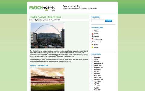 Screenshot of Blog matchhotels.com - Sports travel blog helping sports fans book hotels - captured Sept. 30, 2014