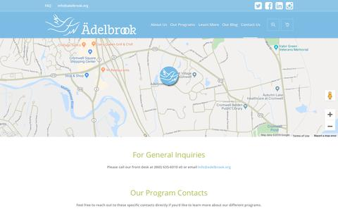 Screenshot of Contact Page adelbrook.org - Contact Us - Welcome to Ädelbrook - captured Oct. 3, 2018