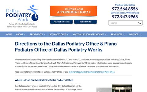 Screenshot of Maps & Directions Page dallaspodiatryworks.com - Directions to Dallas Podiatry Works | Dallas Podiatry Works - captured Aug. 5, 2018