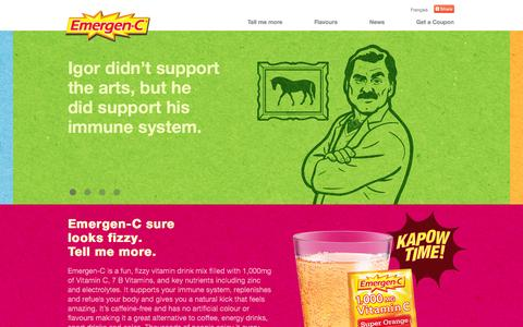 Screenshot of Home Page Press Page emergen-c.ca - Emergen-C Canada | Vitamin goodness in a fizzy drink! - captured Oct. 6, 2014