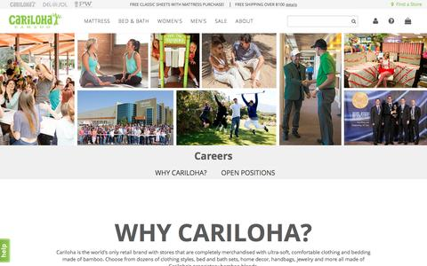 Screenshot of Jobs Page cariloha.com - Careers - captured May 4, 2017