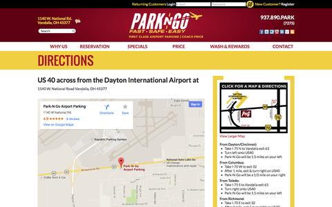 Screenshot of Maps & Directions Page daytonparking.com - Directions - Park-N-Go Dayton Airport Parking - captured Oct. 5, 2014