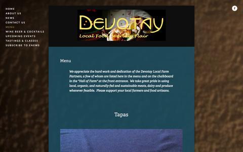 Screenshot of Menu Page devotay.net - Menu — Devotay - captured Sept. 30, 2014