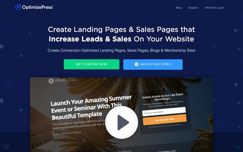 Screenshot of Home Page optimizepress.com - OptimizePress: Create Landing Pages, Sales Pages & Membership Sites - captured July 13, 2018