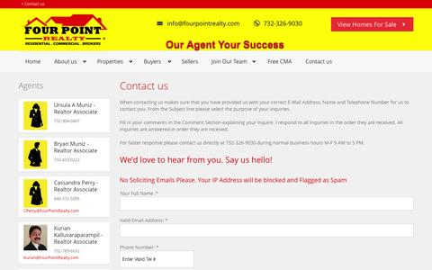 Screenshot of Contact Page fourpointrealty.com - Contact us   - captured Oct. 6, 2014