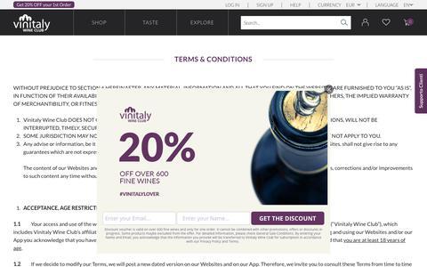 Screenshot of Terms Page vinitalyclub.com - Terms and Conditions | Vinitaly Wine Club - captured Nov. 14, 2018