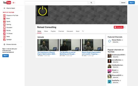 Screenshot of YouTube Page youtube.com - Reload Consulting  - YouTube - captured Oct. 25, 2014