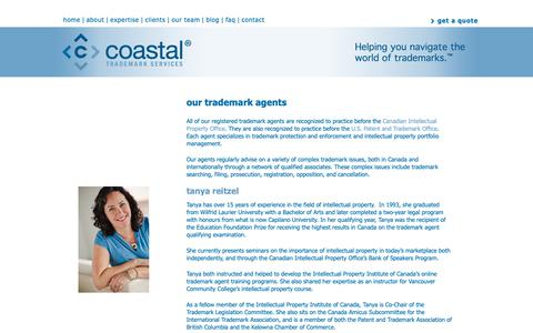 Screenshot of Team Page coastalip.com - Trademark Agent, Intellectual Property Agent | Coastal Trademark Services - captured Sept. 28, 2018