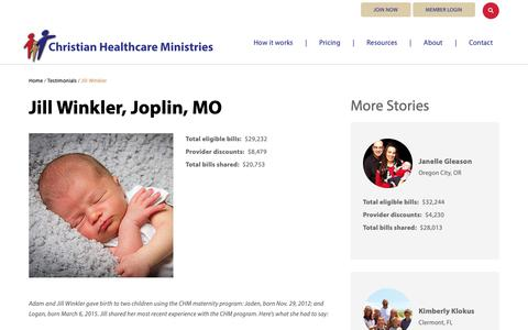Screenshot of Testimonials Page chministries.org - Joplin, MO              | Christian Healthcare Ministries - captured May 16, 2019