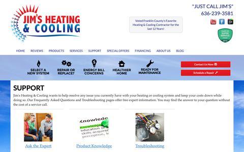 Screenshot of Support Page jimsheatandcool.com - Jim's Heating & Cooling, HVAC Support - Washington, MO 63090 - captured Oct. 13, 2018