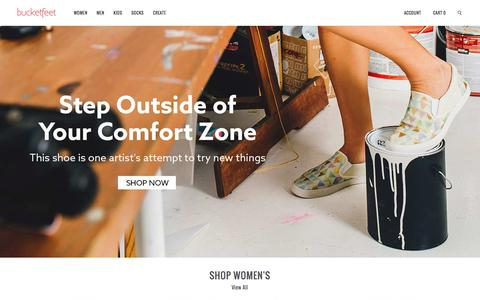 Screenshot of Home Page bucketfeet.com - BucketFeet   Artist Designed Footwear - captured Feb. 11, 2016
