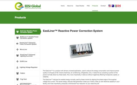 Screenshot of Products Page eesiglobal.com - Products - Energy Engineering Solutions - captured Oct. 1, 2014