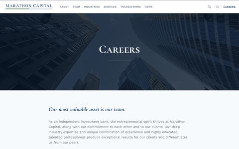 Screenshot of Jobs Page marathon-cap.com - Investment Banking Careers for Energy Finance | Join Marathon Capital - captured Oct. 16, 2018
