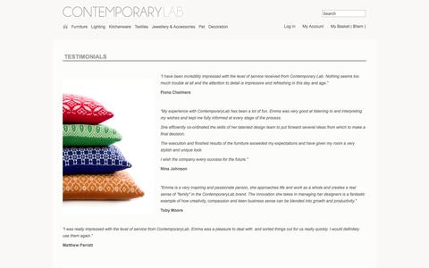 Screenshot of Testimonials Page contemporarylab.com - Testimonials - captured Oct. 3, 2014