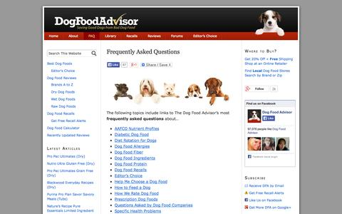 Screenshot of FAQ Page dogfoodadvisor.com - Frequently Asked Questions About Dog Food | The Dog Food Advisor - captured Sept. 18, 2014