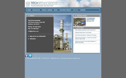 Screenshot of Contact Page techenv.com - Tech Environmental Contact Information - captured Feb. 14, 2016