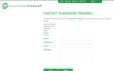 Screenshot of Contact Page alexandertredwell.com - Contact Us | Alexander Tredwell - captured Sept. 30, 2014
