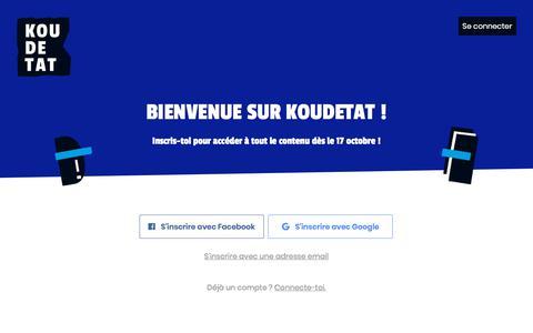 Screenshot of Signup Page koudetat.co - Koudetat - captured Sept. 22, 2018