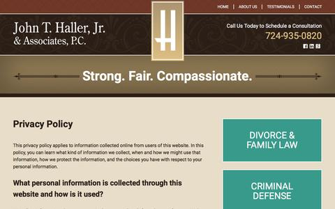 Screenshot of Privacy Page hallerlaw.com - Privacy Policy | John T. Haller, Jr. & Associates | Cranberry Township, Pennsylvania - captured Feb. 11, 2016