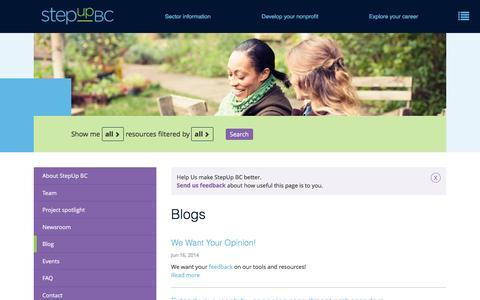 Screenshot of Blog stepupbc.ca - Blogs   StepUp BC - captured Aug. 16, 2016