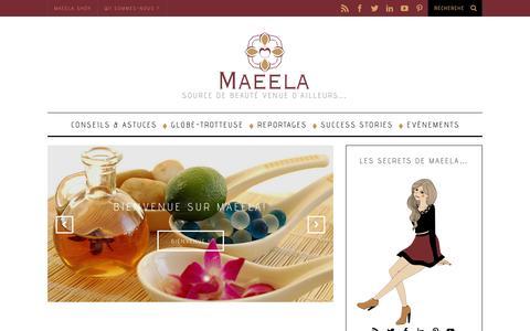 Screenshot of Blog maeela.com - Maeela Blog : Conseils et découvertes beauté - captured Sept. 30, 2014