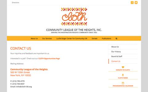 Screenshot of Contact Page Maps & Directions Page cloth159.org - Contact Us – Community League of the Heights, Inc. - captured Nov. 10, 2016