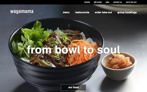 Screenshot of Home Page wagamama.com - wagamama   home - captured Oct. 1, 2015