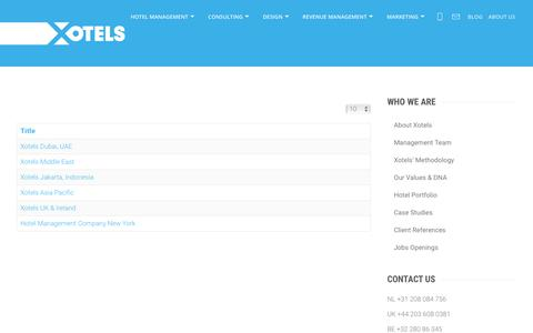 Screenshot of Locations Page xotels.com - Xotels Office Locations Wordlwide - captured Jan. 10, 2019