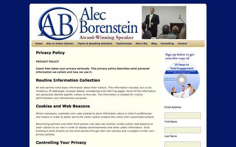 Screenshot of Privacy Page alecborenstein.com - Privacy Policy   Alec Borenstein - captured Oct. 2, 2014