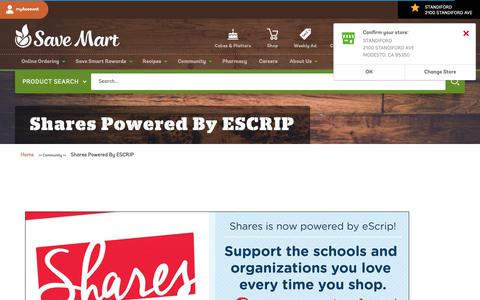 Screenshot of Signup Page savemart.com - Shares Powered By ESCRIP | Save Mart Supermarkets - captured Sept. 30, 2018