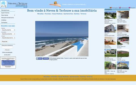 Screenshot of Home Page nevesterlouw.com - Neves & Terlouw - Mediação Imobiliária Lda. Imóveis, Moradias, Apartamentos, Terrenos para construção, Quintas e muito mais... - captured May 27, 2016