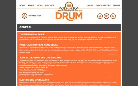 Screenshot of Press Page drumlitmag.com - The Drum : General : Crossing the Line: A Reading Co-Sponsored by The Drum Literary Magazine and the Boston Book Festival - captured Oct. 6, 2014