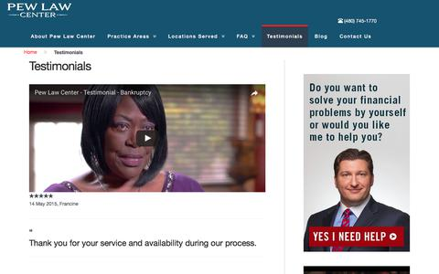 Screenshot of Testimonials Page pewlaw.com - Testimonials - Pew Law Center, PLLC - captured July 7, 2017