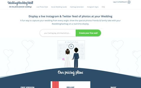 Screenshot of Home Page weddinghashtagwall.com - Wedding Hashtag Wall - Instagram Show for your Wedding - captured Oct. 22, 2018
