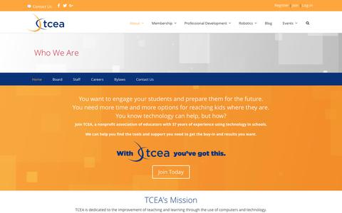 Screenshot of About Page tcea.org - About - TCEA - captured Aug. 2, 2017